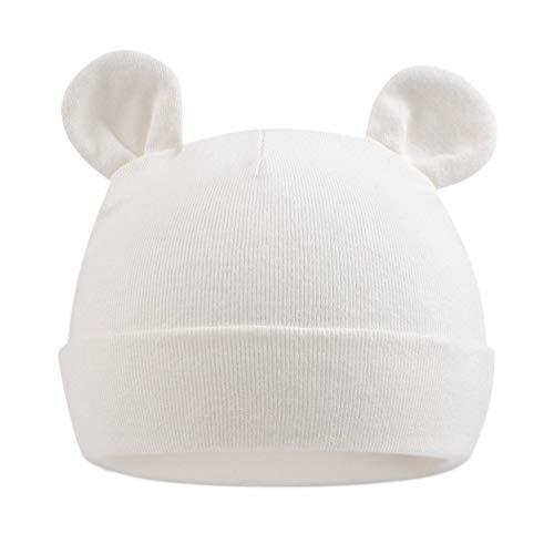 Pesaat Babymütze Neugeborene Mädchen Mütze Baby Jungen Beanie Baumwolle für 0-6 Monate Babys Unisex Erstlingsmütze [MEHRWEG] (weiß, 0-6Monate)