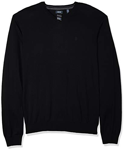 IZOD Men's Premium Essentials Solid V-Neck 12 Gauge Sweater, Black, X-Large