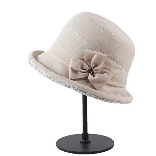 LTH-GD Gorra de Invierno y Sombrero Algodón Plegable A Prueba de Viento Protección Solar Protección UV Tapa del Lavabo Sombreros for el Sol (Color : Beige)