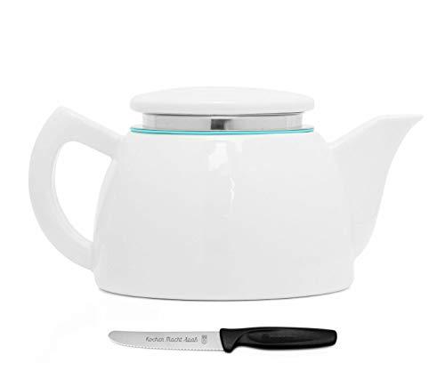Sowden Oskar Teekanne 1,0 l Porzellan weiß, plus ultrascharfes, langlebiges Kochen Macht Spaß Vespermesser im Set
