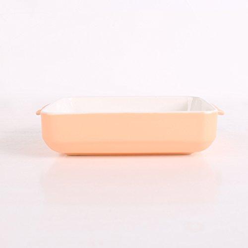 YUWANW Creative Simples Candy-Colored Fromage Cuit Riz Plat à Oreilles Ménage Plat de Cuisson Four à Micro-Ondes Western Dish, Orange Poêle