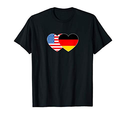 Germany & USA Flag Twin Heart for German Americans July 4th T-Shirt