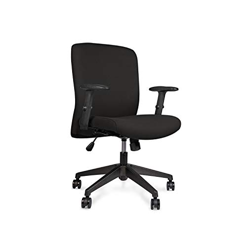 Wipro Furniture Smart Cushioned Back Executive Office Chair with Advanced Synchro Tilt Mechanism and Height Adjustable Arms (Black)