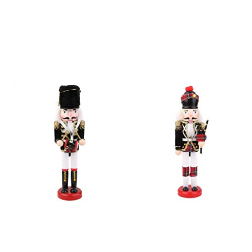 T TOOYFUL 2x Traditional Style Soldier Wooden Model Nutcracker Statue Decoration 30cm