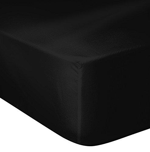 HOME LINGE PASSION Drap Housse 57 Fils, Coton, Noir, 180x200 cm