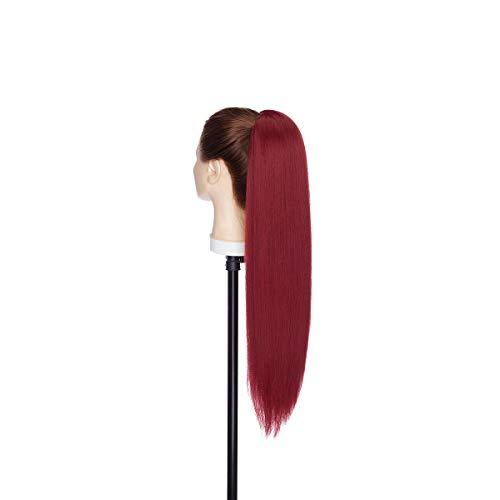Postiche Extension a Clip Cheveux Naturel Yaki Bouffée Crépue Queue de Cheval Chignon Ponytail 55cm Tout Droit Bourgogne