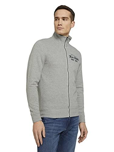 TOM TAILOR Herren 1024320 Logo Sweatjacke, 11087-Middle Grey Melange, L