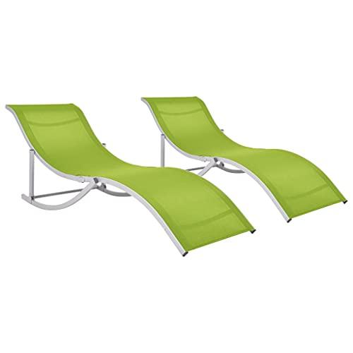 vidaXL 2X Chaises Longues Pliantes Chaise Longue de Jardin Chaise Longue de Terrasse Chaise Longue de Patio Extérieur Vert Textile