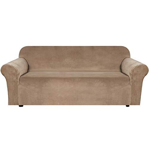 H.VERSAILTEX Stretch Velvet Sofa Covers Large Couch Covers Sofa Slipcovers with Non Slip Straps Underneath The Furniture, Feature Thick Comfy Rich Velour (Extra Wide Sofa 96'-116', Camel)