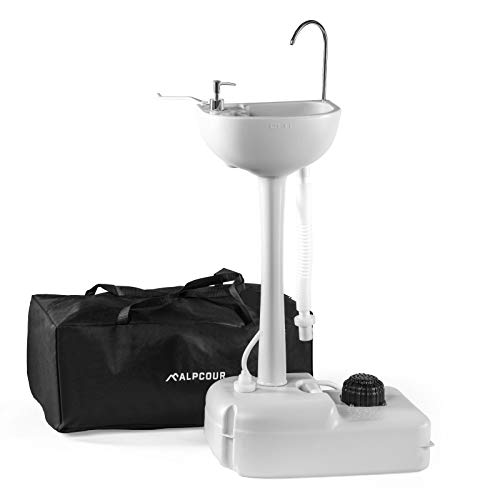 Alpcour Portable Camping Sink – Indoor Outdoor Travel Hygiene Station with Basin, Running Faucet, Soap Dispenser, Towel Rack, Drain Hose, Hands-Free Foot Pump, Stakes & Carry Bag – 17L Water Capacity