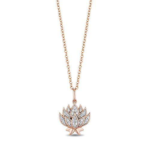 Jewelili Enchanted Disney Fine Jewelry 14K Rose Gold over Sterling Silver 1/10 CTTW Jasmine Pendant