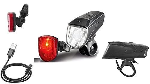 LED Fahrradlicht Vorderlicht Rücklicht Set Fahrradbeleuchtung Set Fahrradlicht USB Fahrad Scheinwerfer Rücklicht Lampe