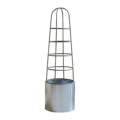 PLHMS Enrejado de Obelisco de jardín Redondo para Plantas trepadoras, Soporte de Hierro Forjado para Plantas, Soporte para macetas, Estante Moderno para exhibición de Plantas, Decorativo