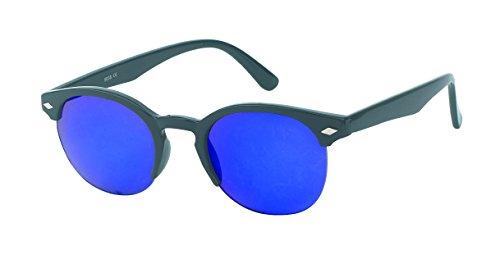 Chic-Net des Lunettes de Soleil Diamant Rond époque Sun Glasses Lunettes Nerd 400UV Serrure Bleu Pont