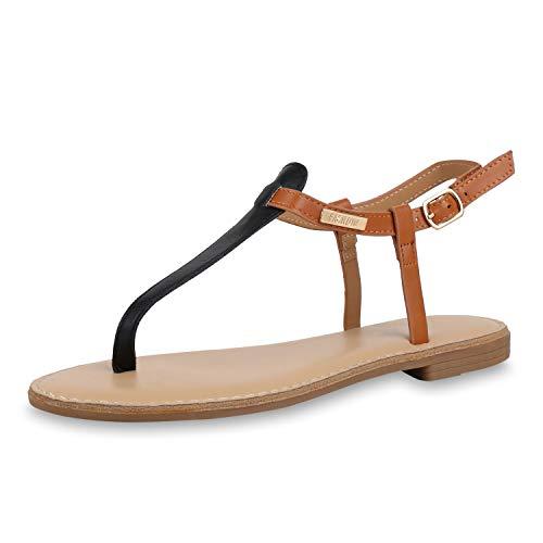 SCARPE VITA Damen Sandalen Zehentrenner Metallic Zehenspreizer Leder-Optik Sommer Schuhe Strandschuhe Zehenstegsandalen 176829 Schwarz Braun 37