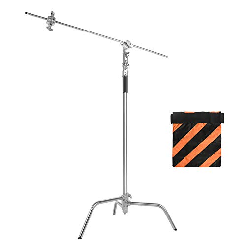 Soonpho 100% Stainless Steel Heavy Duty Light Stand with Clamps, Adjustable Reflector C-Stand with Holding Arm and Adjustable Leg,for Studio Video Reflector,Monolight,Softboxes