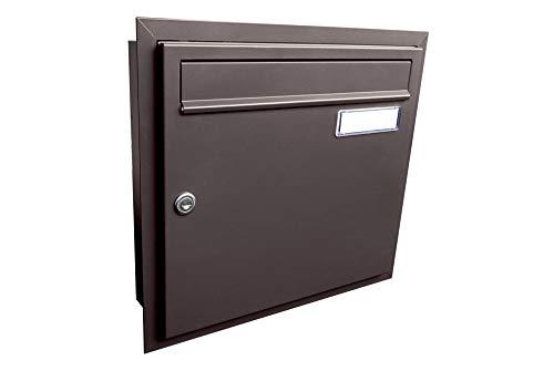 A-01 inbouw brievenbus grijsbruin (RAL 8019) met naamplaatje - LETTERBOX24.de