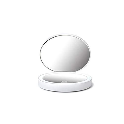 Miroir cosmétique LED, Miroir Pliant, Compact et Portable, Gradation en continu, grossissement 2 Fois, 3 Couleurs claires, Surface Miroir HD, Chargement USB