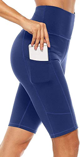 Anwell Jogginghose Damen kurz Dunkelblau figurformend Tummy Control Yoga Pants High Waist mit Taschen Sport Tights Navy XL
