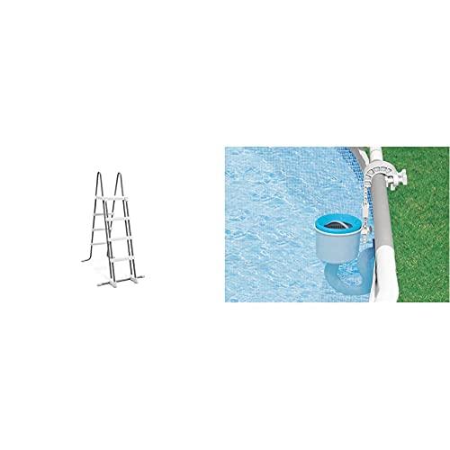 Intex Escalera De Seguridad 28073 (4 Peldaños) para Paredes De 122 Cm De Altura + Skimmer De Superficie - Skimmer De Superficie De Montaje En Pared De Lujo - Skimmer De Suspensión