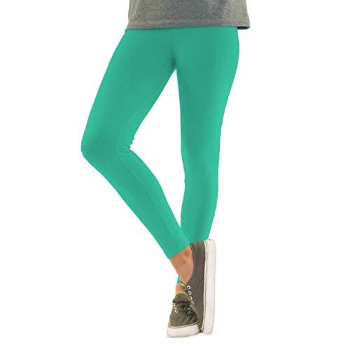 Blickdichte Damen Leggings aus Baumwolle Leggins Knöchellang in schwarz weiß grün grau rot gelb, Farbe: Mint, Größe: 40-42 (XL)