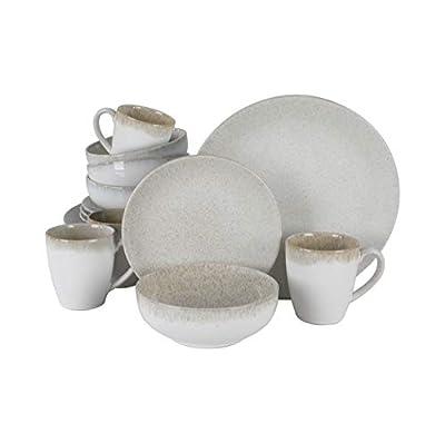 Gibson Elite Kashmir Round Reactive Glaze Stoneware Dinnerware Set, Service for Four (16pcs), Sand