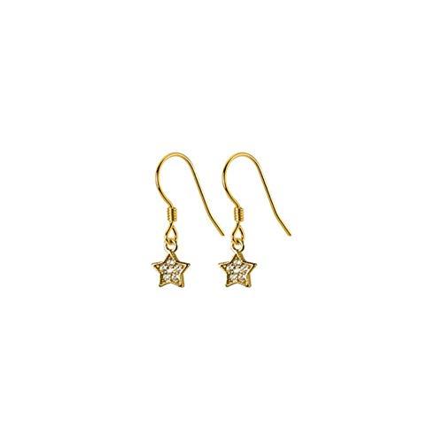 Vvff Pendientes De Botón Colgantes De Estrella De Circonita De Cristal Con Pavé De Plata Para Mujer, Encantadora Joyería Chapada En Oro