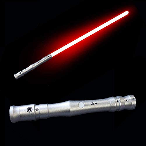 YYZQMCU Sable de luz duelo, espada luminosa, juguetes de lucha, accesorios de vestir Force FX, regalo de cumpleaños para niños, mango de aluminio, con sonido, luz verde (mango de plata luz roja)