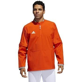 adidas Fielder's Choice 2.0 Convertible Cage Long Sleeve Jacket- Men's Baseball L Collegiate Orange/Core Heather