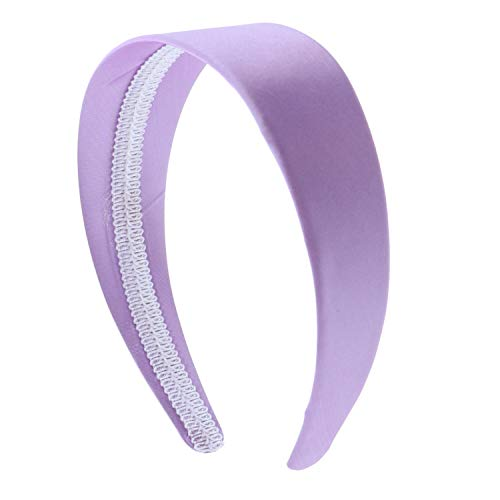 Lavender 2 Inch Wide Satin Hard Headband with No Teeth (Motique Accessories)