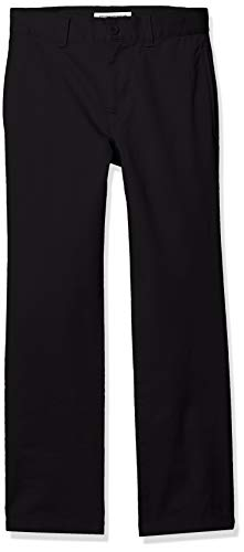 Amazon Essentials Jungen Straight Leg Flat Front Uniform Chino Pant Hose, Black, 8S