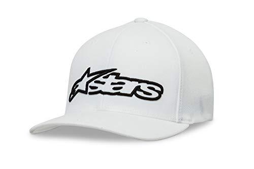 Alpinestar Blaze Flexfit Hat Gorra Flexfit Visera Curva Logo Bordado 3D, Hombre, White/Black, S/M