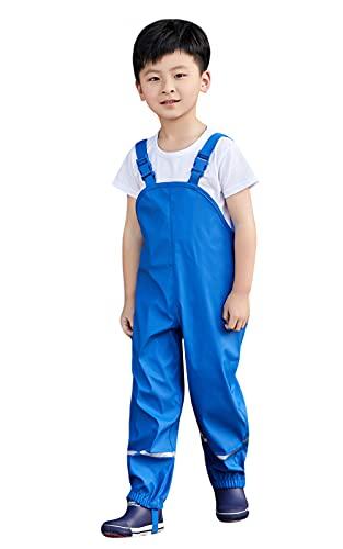 Idgreatim Pantaloni da Pioggia per Ragazzi e Ragazze Pantaloni Antipioggia Blu Tuta Impermeabile Pantaloni Antipioggia Regolabili