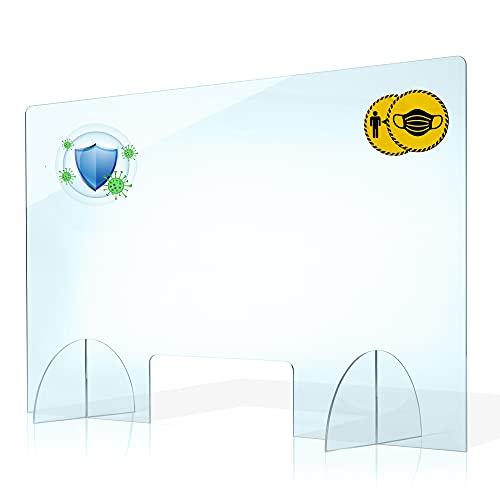 PLEXMANN Plexiglas Spuckschutz Trennwand 4mm Acrylglas Schutzwand - Transparent Thekenaufsatz -Plexiglasscheibe Spuckschutz Wand - Spritzschutz-Hustenschutz Trennwände (60 x 50 cm (Breite x Höhe))