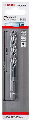 Bosch Professional Impact Control HSS Spiral Drill Bit for Metal 6.5 x 63 x 107 mm Impact Drill Accessories