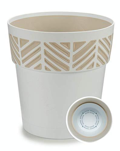 TIENDA EURASIA® Maceta de Plástico - Diseño Geométrico Rayas - 3 en 1- Maceta + Bandeja Interior + Bajoplato (Blanco, 30 cm)