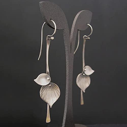 shengna Pendientes tribales étnicos de color plateado con hojas de metal para mujer, estilo vintage, con diseño de flor de lirio, regalo (color metálico: pendientes X546)