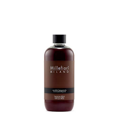 Millefiori 7RESB Sandalo Bergamotto Nachfüllflasche 500 ml für Raumduft Diffuser Natural, Plastik, Braun, 9 x 6.8 x 17.7 cm