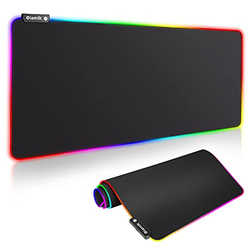 Gaming Mouse Pad Large, Oiamik Glorious Mousepad Desk Mat XL Keyboard and Mouse Pad with Lighting Modes, RGB Mouse Pads for Laptop Computer Work PC Games 800 x 300mm / 31.5 x 11.8in (X-Large)