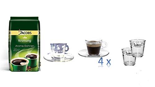 Jacobs Krönung Aroma-Bohnen, ganze Bohnen, Kaffeebohnen, 1er Pack, 1 x 500g + + 4 Espresso Tassen cc75 + 4 Wassergläser von James Premium®