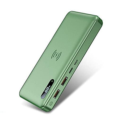 Banco Energía Inalámbrico 15 W 50000 Mah - PD 3.0 QC4.0 Cargador Portátil Pequeño Y Liviano Carga Rápida, 3 Salidas Y 2 Entradas Paquete Batería Externa Tipo C Compatible con iPhone Samsung ect,Verde