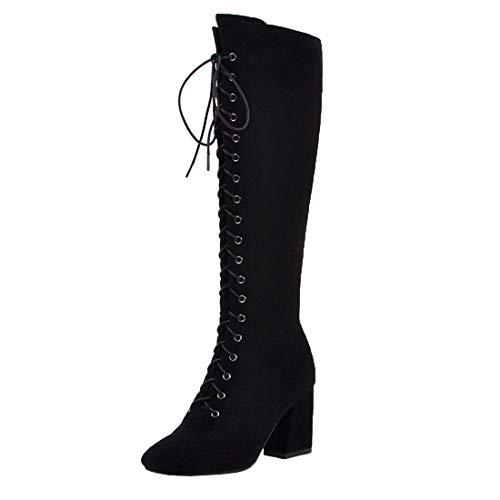 MISSUIT Damen Schnür High Heels Stiefel Blockabsatz Kniehohe Stiefel Reißverschluss Hohe High Knee Stiefel Winterboots(Schwarz,39)