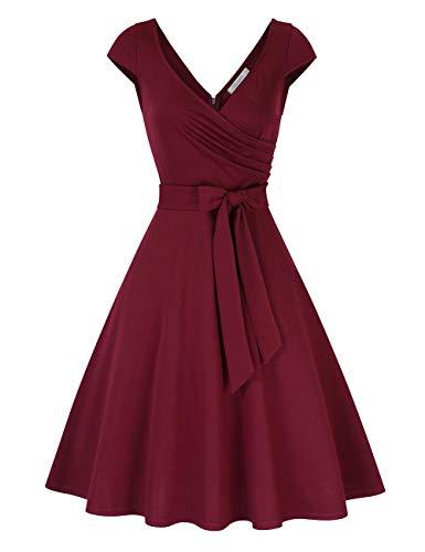 KOJOOIN Damen Vintage 50er V-Ausschnitt Abendkleid Rockabilly Retro Kleider Hepburn Stil Cocktailkleid Weinrot L