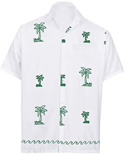 LA LEELA Casual Hawaiana Camisa para Hombre Señores Manga Corta Bolsillo Delantero Surf Palmeras Caballeros Playa Aloha XL-(in cms):121-132 Blanco_W818