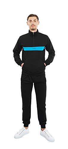 CAPRIUM Herren Streetwear Jogginganzug Sportanzug Modern Farbe Schwarz, Größe XL (Fällt eine Nummer Kleiner aus)