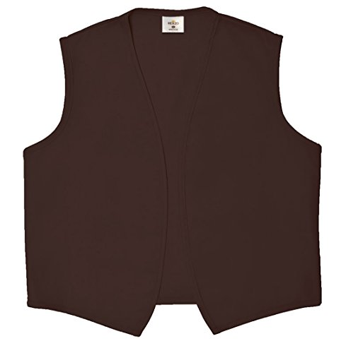 REXZO Unisex Vest No Pocket No Buttons Made in The USA - Brown, Large