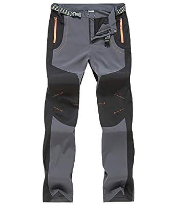 Gopune Men's Outdoor Lightweight Pants Quick Dry Hiking Mountain Pants (Grey,34)