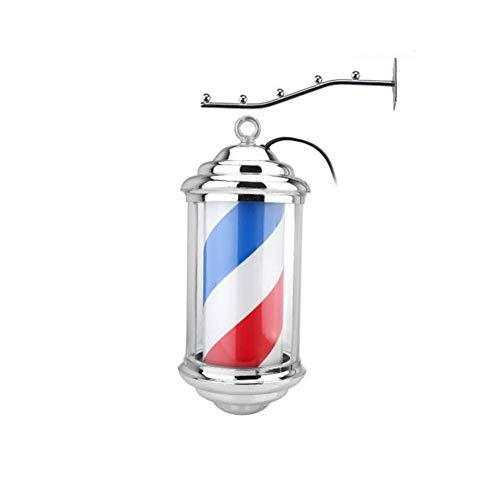 XCJJ Traditionnel 11 'Led Barber Pole, Red White Blue Rotating Light Stripes Sign Hair Salon, étanche, intérieur et extérieur, montage mural,rouge,28cm