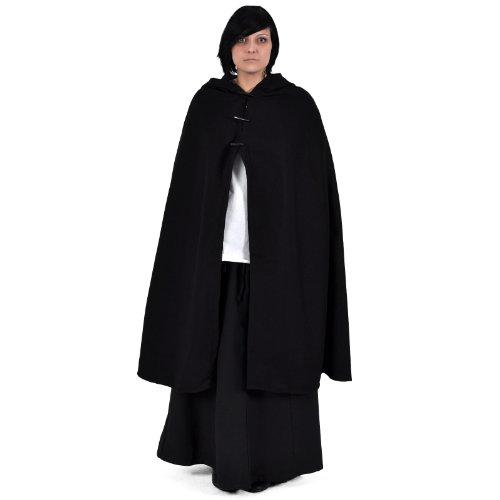 Mittelalter Umhang Damen Kapuze Knebelverschluss warm u wasserabweisend schwarz - 2