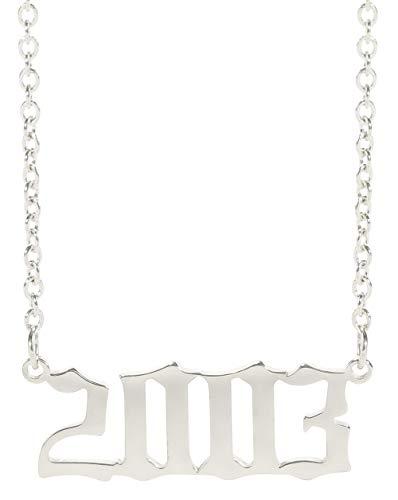 TEAMER Año Conmemorativo de la Moda Número Colgante Collar Plata Cadena de eslabones de Acero Inoxidable Regalos de graduación de cumpleaños Joyería Personalizada para Mujeres Hombres (2003)